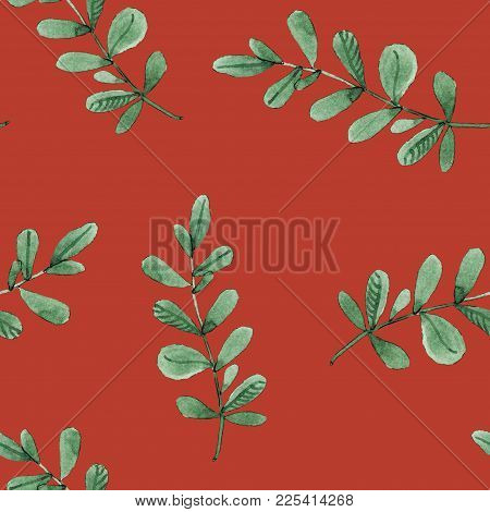 Leaves Branches Watercolor Seamless Pattern Illustration On Red Background. Will Be Good For Decor A