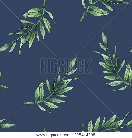 Hand Drawn Leaves Branches Watercolor Seamless Pattern Illustration On Dark Blue Background. Will Be