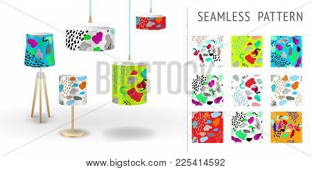 A Set Of Summer Seamless Unique Abstract Hand-drawn Patterns, Demonstrated On Textile Lampshades. Ca