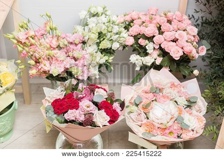 Flower Shop Concept. Different Varieties Fresh Spring Flowers In Refrigerator For Flowers. Bouquets
