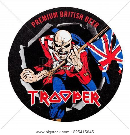 London, Uk - February 04, 2018: Trooper Premium British Beer Beermat Coaster Isolated On White Backg