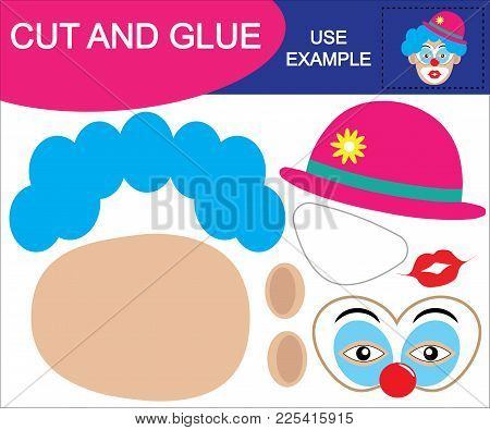 Image Of Clown. Cut And Glue. Educational Game For Children