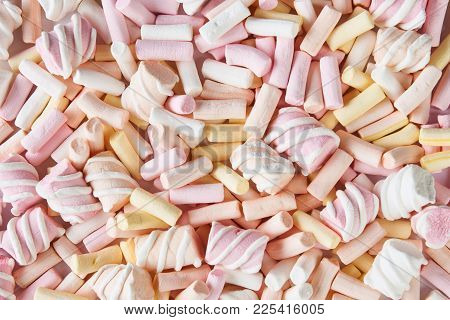 Marshmallows Background, Texture, Top View. Pastel Pink, Yellow Colored Marshmallow, Close-up. Color