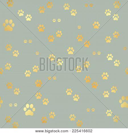 Dog Gold Paw Prints. Seamless Pattern Of Animal Gold Footprints. Dog Paw Print Seamless Pattern