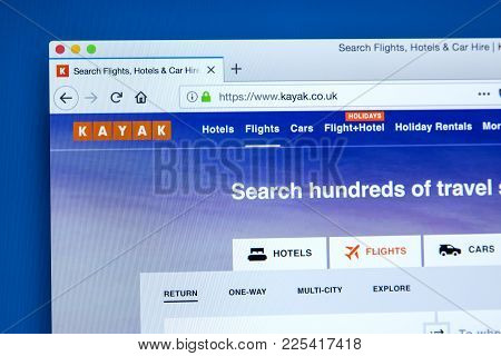 London, Uk - January 10th 2018: The Homepage Of The Official Website For Kayak - The Travel And Holi