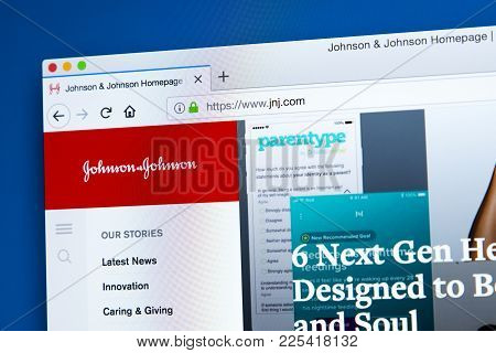 London, Uk - January 10th 2018: The Homepage Of The Official Website For Johnson & Johnson - The Ame