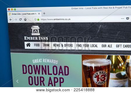 London, Uk - January 10th 2018: The Homepage Of The Official Website For The Ember Inns Pub Brand Wh