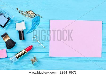 Flat Lay Fashion Cosmetics And Accessories. Decorative Cosmetics Products And Accessories, Paper Car