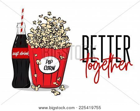 Vector Popcorn Box And Soft Drink Bottle Concept. Movie Banner Advertising Template. Red Big Carton