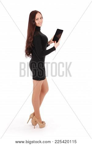 Girl Keeps Black Tablet Pc Standing Sideways Isolated On White