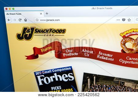 London, Uk - January 10th 2018: The Homepage Of The Official Website For The J&j Snack Foods Corpora