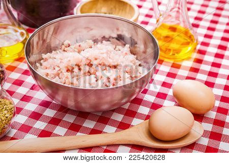 Minced Fish In The Bowl With Spices And Seasonings