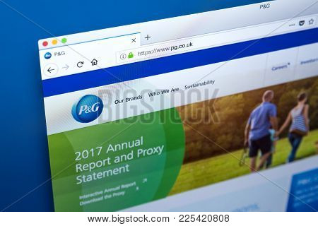 London, Uk - January 10th 2018: The Homepage Of The Official Website For Procter & Gamble - The Amer