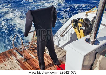 Equipment For Scuba Diving On Boat Of Ship. Picture Of Diving Suit For Diving.