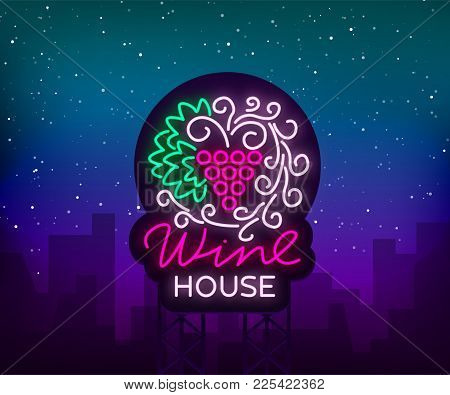 Wine House Pattern Ornament Frame With In A Trendy Neon Style. Logo, Badge Glowing Banner. For The M