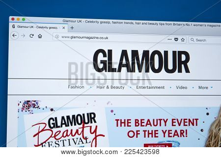London, Uk - January 8th 2018: The Homepage Of The Official Website For Glamour - The Womens Magazin
