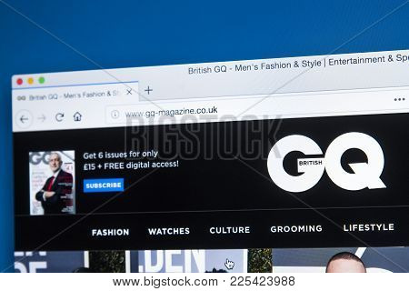 London, Uk - January 8th 2018: The Homepage Of The Official Website For Gq - The International Month