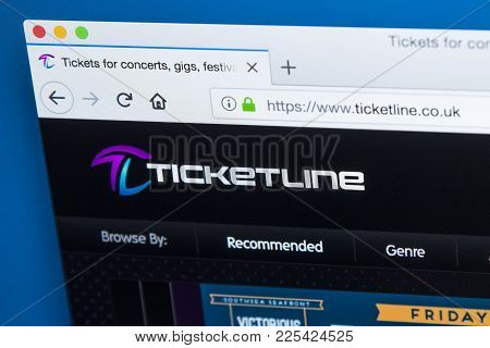 London, Uk - January 8th 2018: The Homepage Of The Official Website For Ticketline - One Of The Larg