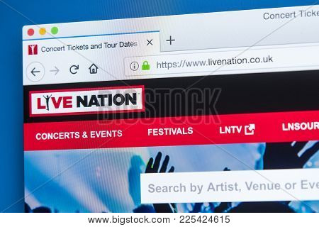 London, Uk - January 8th 2018: The Homepage Of The Official Website For Live Nation - The American G