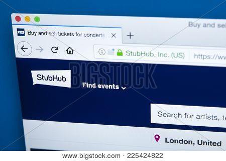 London, Uk - January 8th 2018: The Homepage Of The Official Website For Stubhub - The Online Ticket