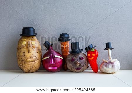 Mister Potato Red Onion Beetroot Garlic Pepper Carrot. Old Fashion Style Characters Plants, Serious