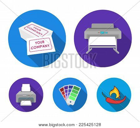 Printer, Credit Card, Color Palette.typography Set Collection Icons In Flat Style Vector Symbol Stoc