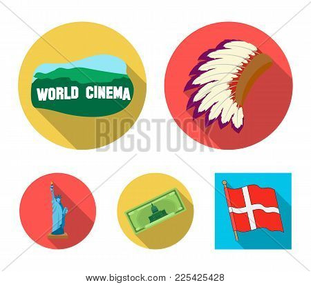 Mohavk, World Cinema, Dollar, A Statue Of Liberty.usa Country Set Collection Icons In Flat Style Vec