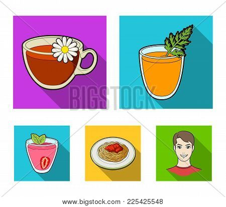 Carrot Juice In A Glass, Chamomile Tea In A Cup, Porridge On A Plate, Strawberry Juice In A Glass Wi