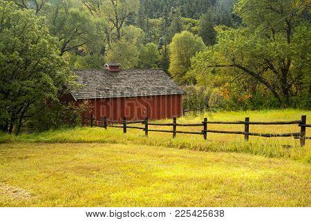 Autumn Image Of A Ranch Building Off Scenic Highway 12 Near La Veta, Colorado.