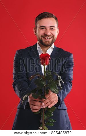 Well-dressed Man Holding One Red Rose. Dating Concept. Red Background