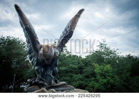 Pyatigorsk , Russia - July 07, 2017: Sculpture Of An Eagle On The Hot Mountain In Pyatigorsk, Bronze