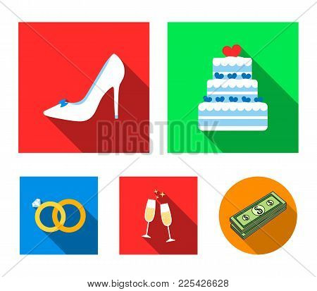 Wedding Cake, Bride's Shoes, Champagne Glasses, Wedding Rings. Wedding Set Collection Icons In Flat