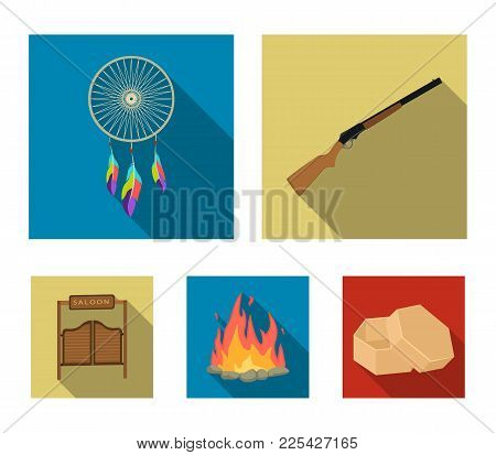 A Dream-catcher, A Gun, A Saloon Door, A Fire. Set Collection Icons In Flat Style Vector Symbol Stoc