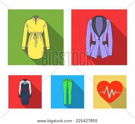 Women's Clothing Flat Icons In Set Collection For Design.clothing Varieties And Accessories Vector S