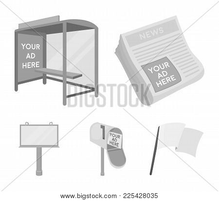 Newspapers, A Bus Stop, A Mail Box, A Billboard.advertising, Set Collection Icons In Monochrome Styl