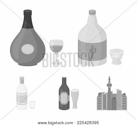Tequila, Cognac, Beer, Vodka.alcohol Set Collection Icons In Monochrome Style Vector Symbol Stock Il