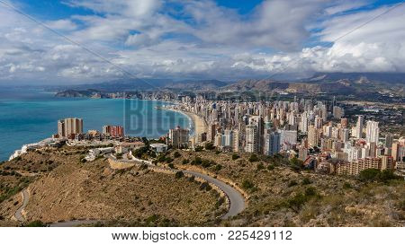 North Side Of Benidorm With Skyscrapers, Mountains And Sea