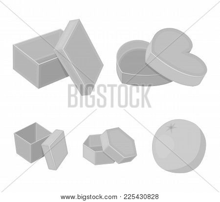 Box, Container, Package, And Other  Icon In Monochrome Style.case, Shell, Framework, Icons In Set Co