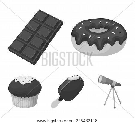 Donut With Chocolate, Zskimo, Shokolpada Tile, Biscuit.chocolate Desserts Set Collection Icons In Mo