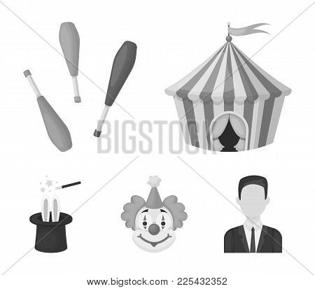 Circus Tent, Juggler Maces, Clown, Magician's Hat.circus Set Collection Icons In Monochrome Style Ve