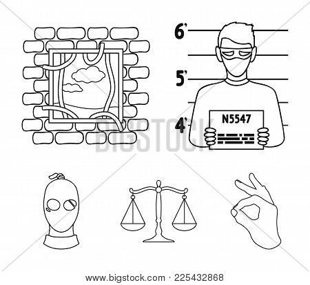 Photo Of A Criminal, Escape From Prison, Scales Of Justice, A Thief In A Mask. Crime Set Collection