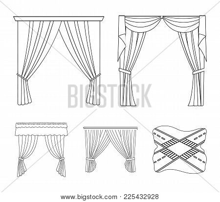 Different Types Of Window Curtains.curtains Set Collection Icons In Outline Style Vector Symbol Stoc
