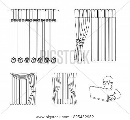 Curtains, Drapes, Garters, And Other  Icon In Outline Style. Textiles, Furniture, Bow Icons In Set C