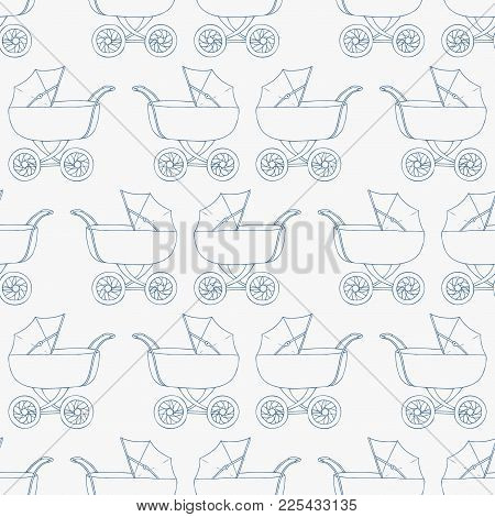 Seamless Pattern Background Baby Carriage For Son. Baby Boy Wallpaper. Blue Textile. Buggy Vector Il
