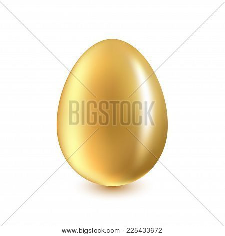 Golden Egg On A White Background With A Light Shadow
