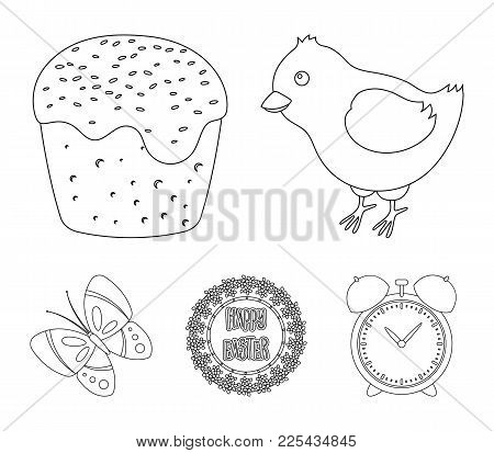 Easter Cake, Chicken, Butterfly And Greeting Sign.easter Set Collection Icons In Outline Style Vecto