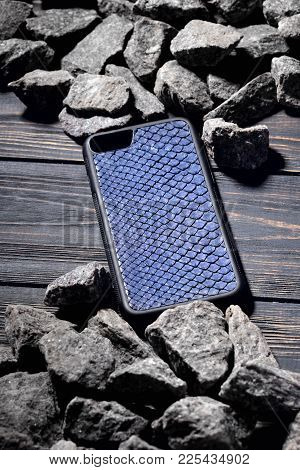 Exclusive Blue Snake Leather Case For Smartphone.luxury Case. On Stone Background