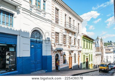 Quito, Ecuador, December 17, 2017: Colonial Style Architecture In The Historic Centre Of Quito, Ecua