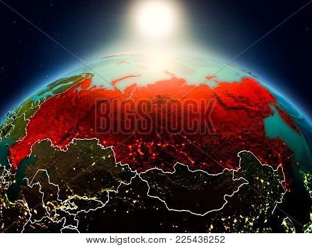 Russia In Sunrise From Orbit