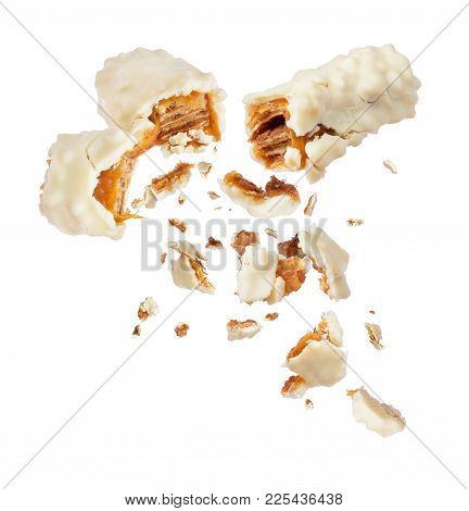 Waffle Milk Chocolate Bar With Nuts Broken Into Two Parts On White Background